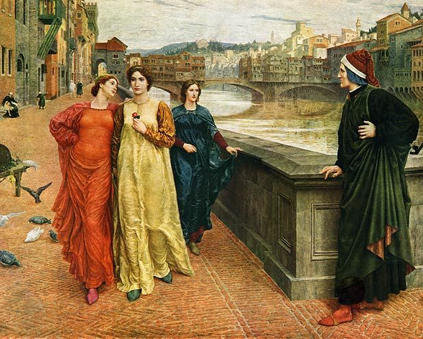 Dante and Beatrice, by Henry Holiday, 1883. Dante looks longingly at Beatrice (in yellow) passing by with friend Lady Vanna (red) along the Arno River