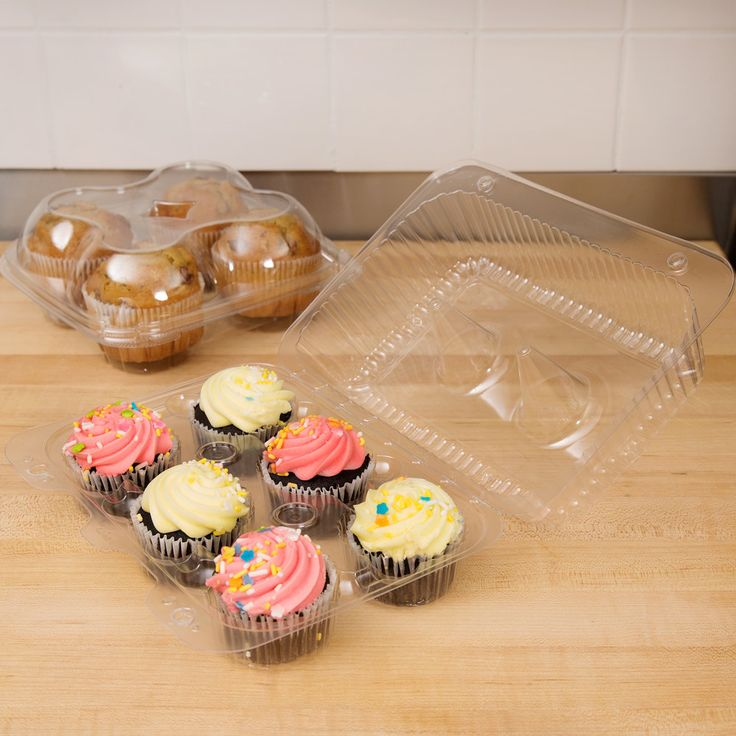 Polar Pak 2020 6-Cup High Top Hinged OPS Plastic Cupcake Container - 200/Case