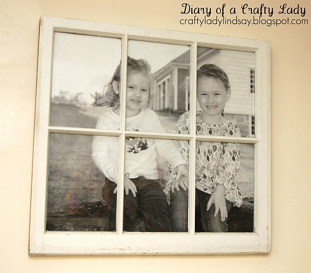old window, big picture: Old Window Frames, Crafts Ideas, Decor Ideas, Window Pictures, Window Ideas, Old Windows, Big Pictures, Crafty Lady, Pictures Frames