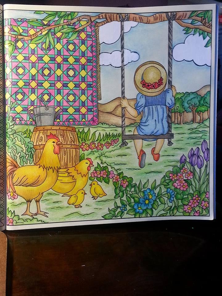 Desenho do livro Pinte o Quilt no Campo colorido pela Ana Cristina Bastos.