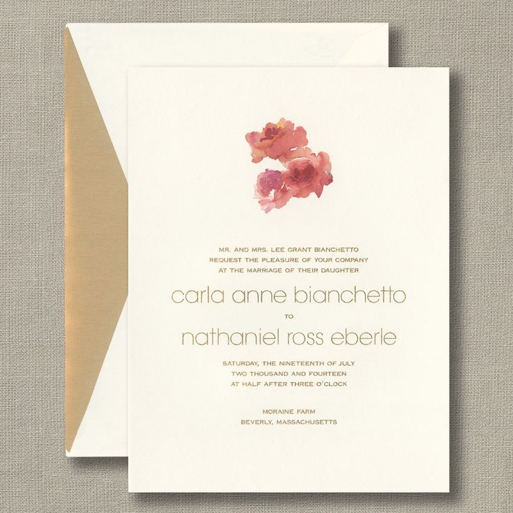 Watercolor Floral Ecru Wedding Invitations