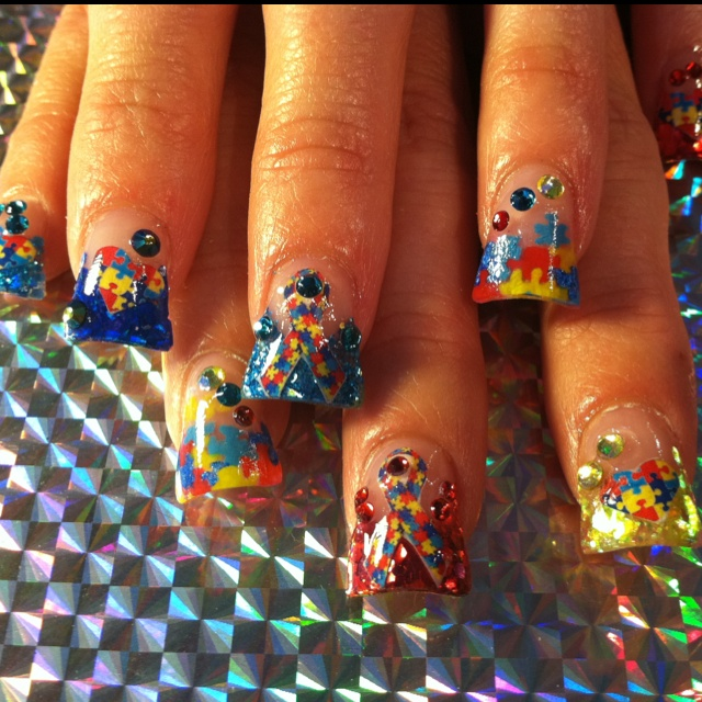 68 best autism nail art images on pinterest autism nail art autism awareness nails design in honor of my cousin prinsesfo Images
