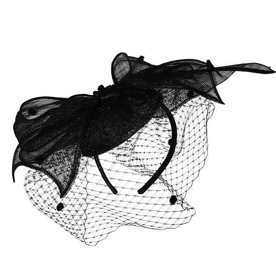 4d9b430c0f7 Arielle Black Fascinator with Spotted Netting