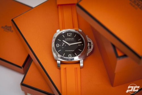 Orange is the new black, #Panerai style. #PAM312 on an orange rubber strap by @thewatchstrapstore. #PaneraiCentral #Hermes What do you think? http://www.paneraicentral.com/panerai-price-list-united-states-may-2015/