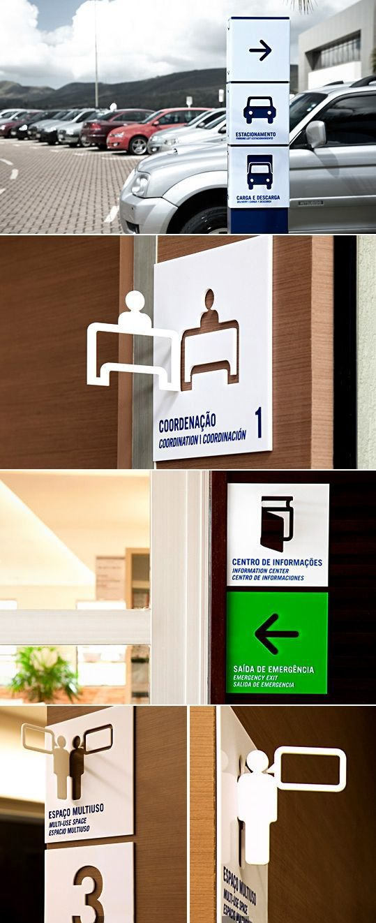 Fundação Dom Cabral (business school) signage system (identification, directional, orientation and regulatory signs) by Greco Design in Belo Horizonte, Brazil