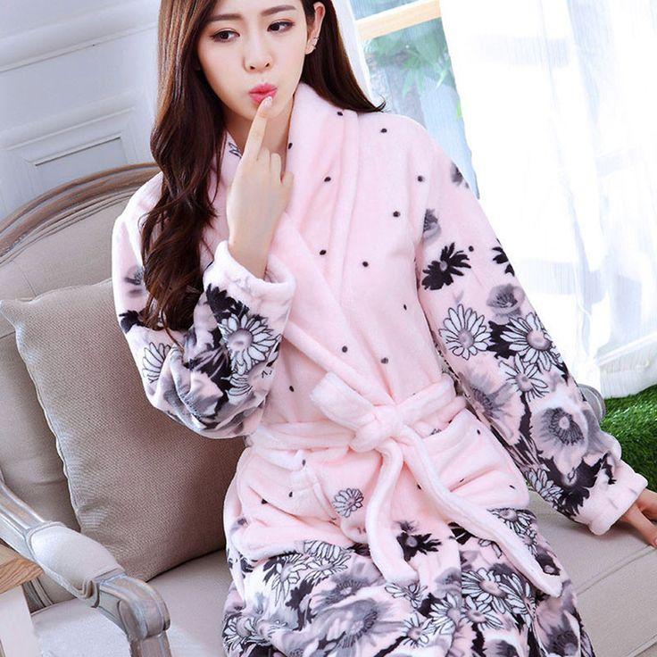 New Women Coral Fleece Sleepwear Sexy Kgurumi Winter Autumn Warm Bathrobe Nightgown Kimono Dressing Gown Robe For Lady