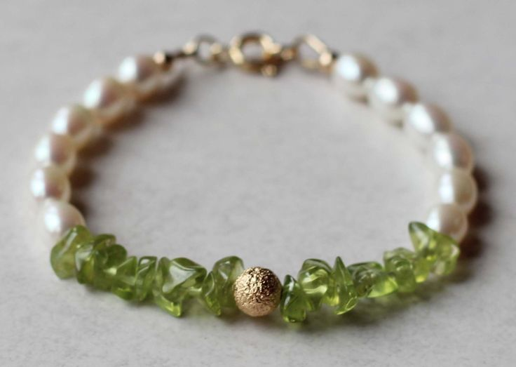 Girl's Bracelet Freshwater Rice Pearls and Peridot Gemstones with a Gold Filled Bead. Communion Bracelet. Birthstone Bracelet by ILgemstones on Etsy
