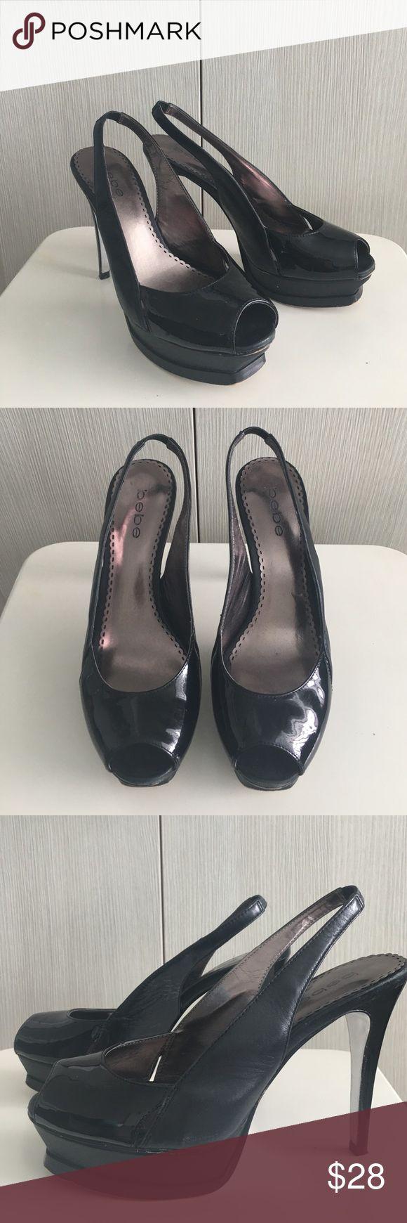 "Bebe wedge high heels black Bebe wedge high heels in black. Mix of matte and glossy leather top. 1"" wedge bottoms, 4.5"" heels. In good condition. bebe Shoes Heels"