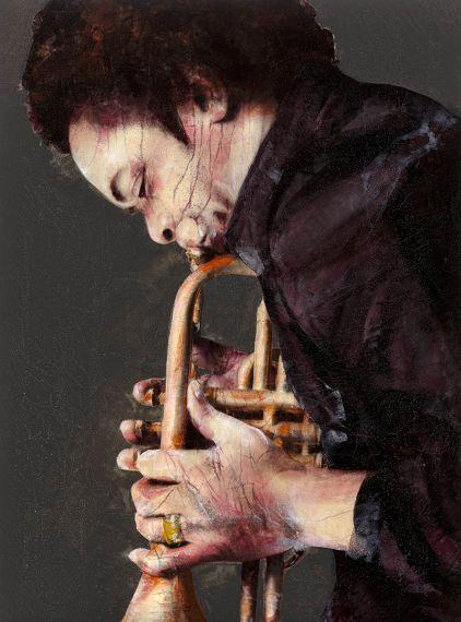 Lita Cabellut. Miles Davis, 2012. Mixed media, 270 x 200cm.