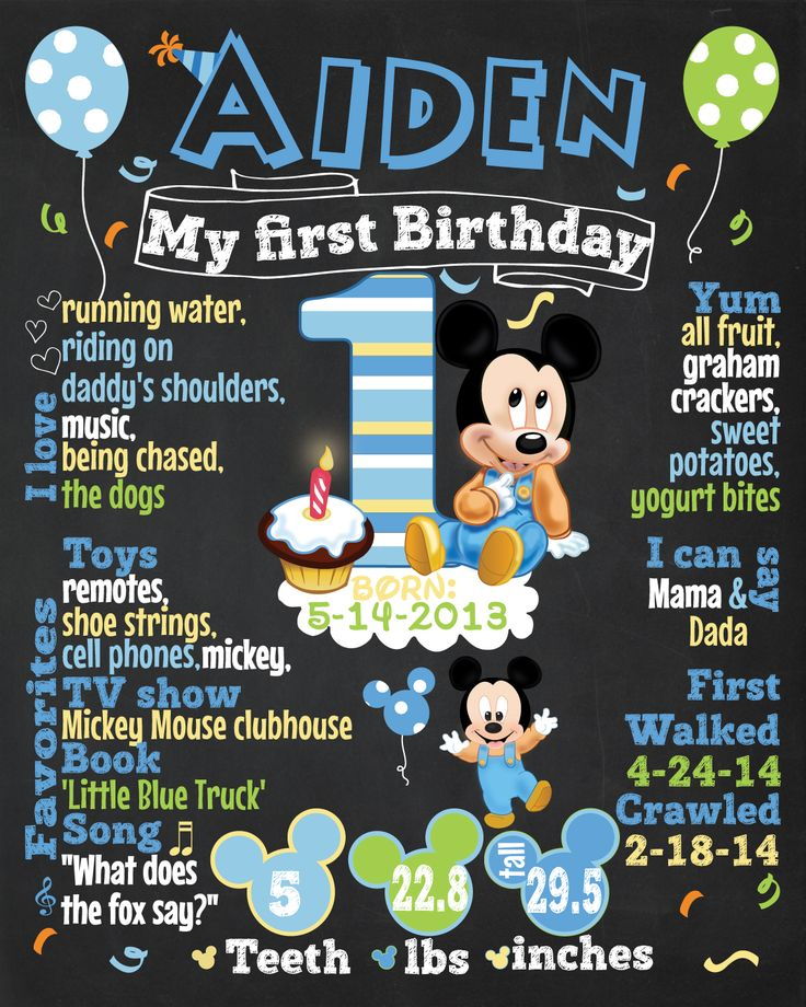 The First #Birthday #Chalkboard Poster Sign Printable-digital-babys first birthday-Plus FREE web FILE -Boy -  #Baby #Mickey theme by Ladyfromsun designs #disney