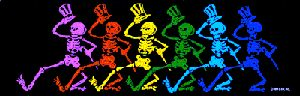 "Grateful Dead - Dancing Skeletons Bumper Sticker - $4.00 Put the Grateful Dead Dancing Skeletons on your front or back bumper with this 3"" x 9 1/2"" Grateful Dead bumper sticker. A classic image and it's officially licensed Grateful Dead Merchandise"