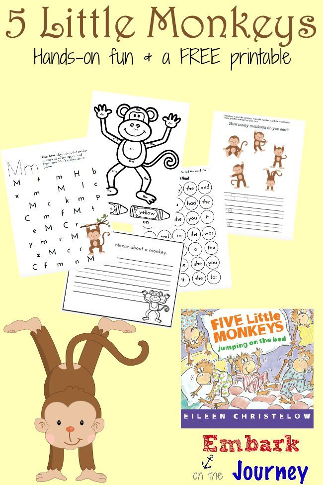 Here's a fun collection of hands-on activities and a FREE monkey-themed printable for PreK-K kiddos!   embarkonthejourney.com