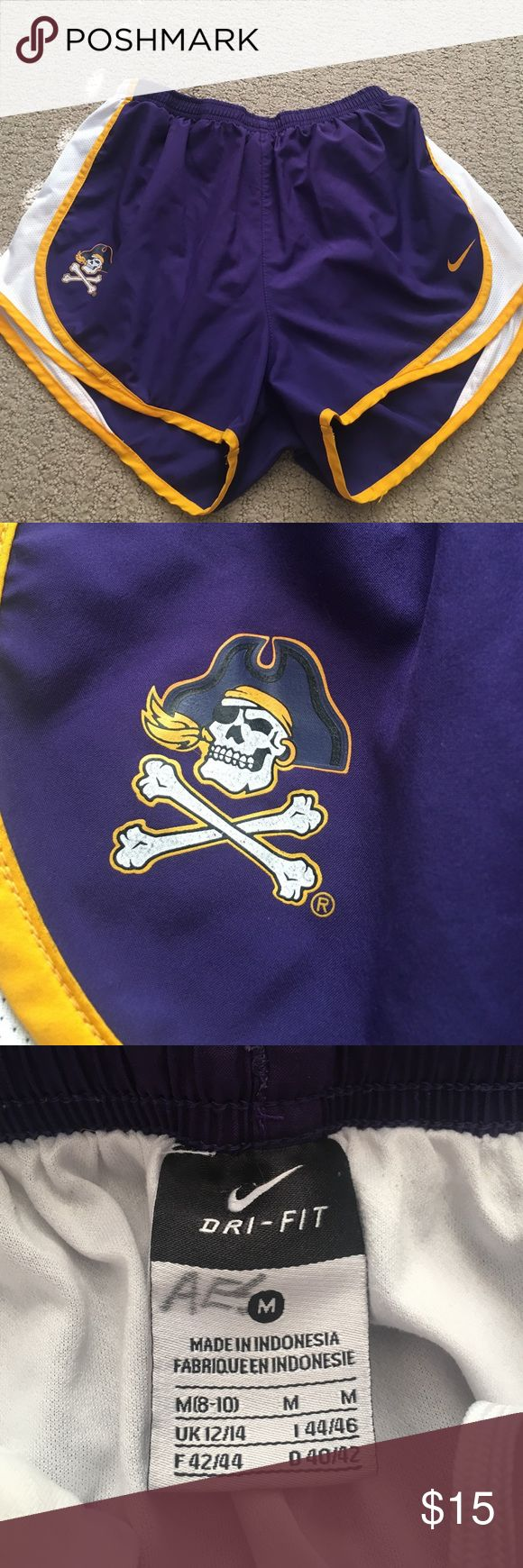 East Carolina University women's Nike Tempo shorts Purple with gold and white accent Nike Tempo running shorts. Has ECU skull and crossbones logo on lower right corner. Dri-fit material. Gently used. Faded sharpie initials on inside tag. Nike Shorts