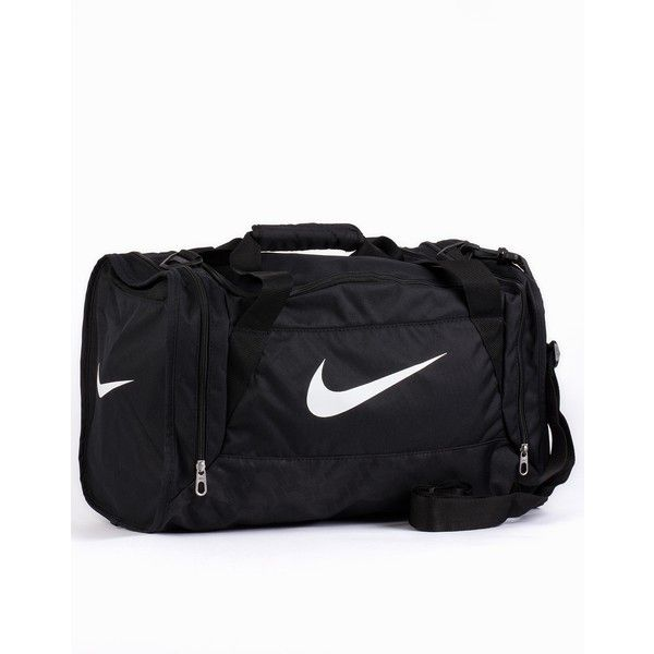 Nike Brasilia 6 Duffel Small ($43) ❤ liked on Polyvore featuring bags, accessories, sport, nike, accessories sport, black, sports fashion, womens-fashion, sport duffle bag and logo duffle bags