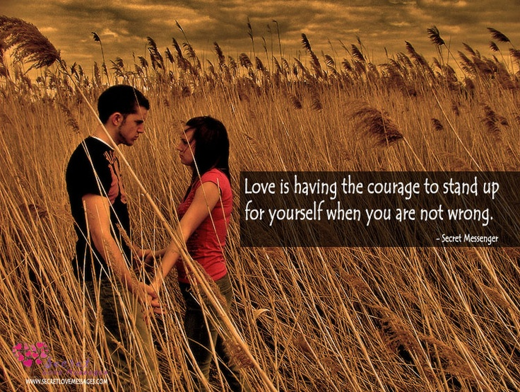 Love is having the courage to stand up for yourself when you are not wrong.