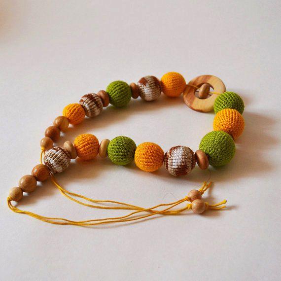 Green Yellow Nursing Necklace With Juniper Ring by KattyMarket