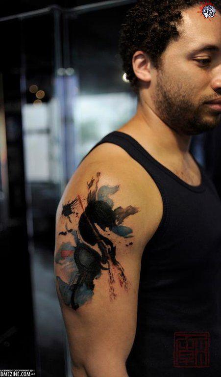 Poetry - Wang at Tattoo Temple, Hong Kong - via ModBlogHong Kong, Splotch Tattoo, The Artists, Artists Hong, Tattoo Artists, Artists Tattoo, Tattoo Temples, Tattoo Ink, Splatter Tattoo