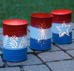 Directions for these tin can luminaries for Memorial Day or Fourth of July.  Fairly easy.