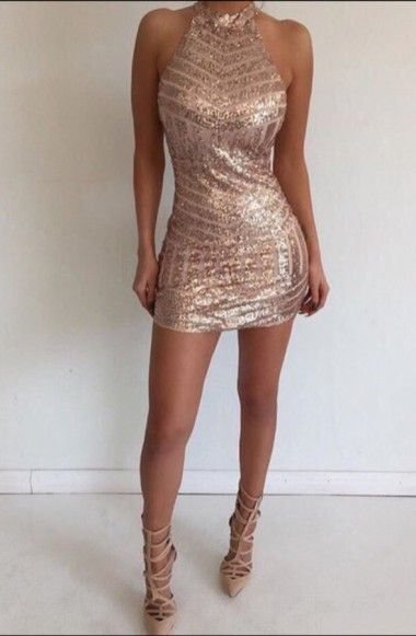 Sexy Halter Sleeveless Open Back Tight Short Rose Gold Homecoming Dress with Sequins
