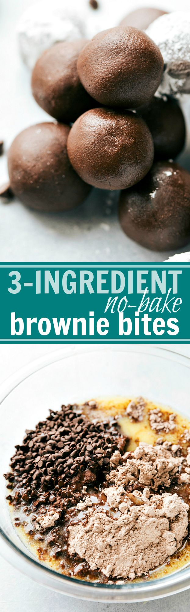 3-Ingredient NO BAKE brownie fudge bites! I via chelseasmessyapron.com