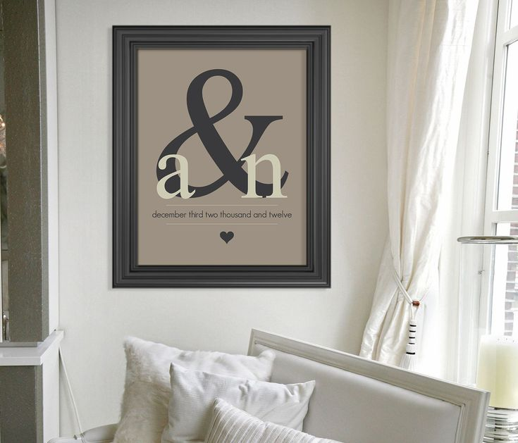 Valentines Day Gift // Ampersand Monogram Art Print // Custom Gift // Personalized Wedding Present // Special Date Wall Art // Home Decor. $24.00, via Etsy.