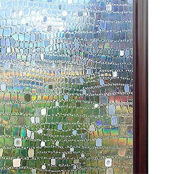 47/'/' 3D Rainbow Window Film Static Cling Frosted Home Privacy Glass Sticker