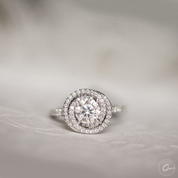 Round diamond swirl engagement ring by A. Jaffe - Available at Razny Jewelers