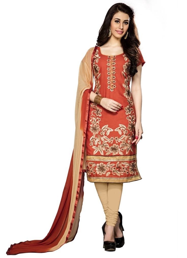 Pleasant Orange Coloured Cambric Cotton Embroidery Indian Designer Salwar Suit At Best Price By Uttamvastra - Online Shopping For Women