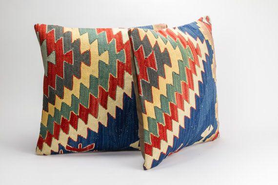 Pair - Vintage, wool hand woven Kilim pillow - Bohemian Cushion 16'' x 16'' (40 cm x 40 cm)