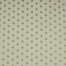 Béžová bavlněná látka s motivem zlatýchh hvězdiček. Látka je vhodná na patchwork, quilting, ložní prádlo, vánoční dekorace.