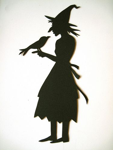 witch with crow... draw cut tape on window or door....