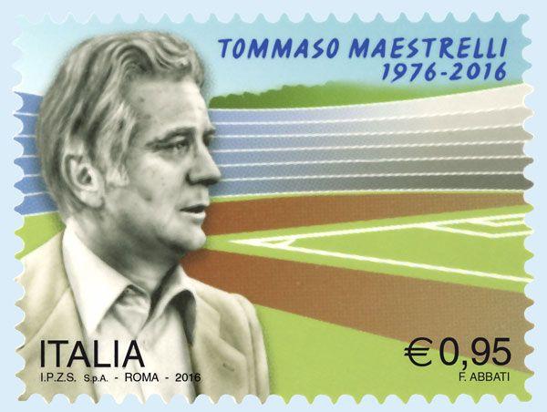 """Francobollo ordinario appartenente alla serie tematica """"lo Sport"""" dedicato a Tommaso Maestrelli, nel 40° anniversario della scomparsa"""
