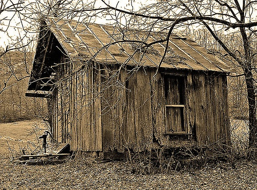 The Old Smokehouse. A variety of things were hung there but it always smelled smoky. Old Smokehouse by dok1, via Flickr