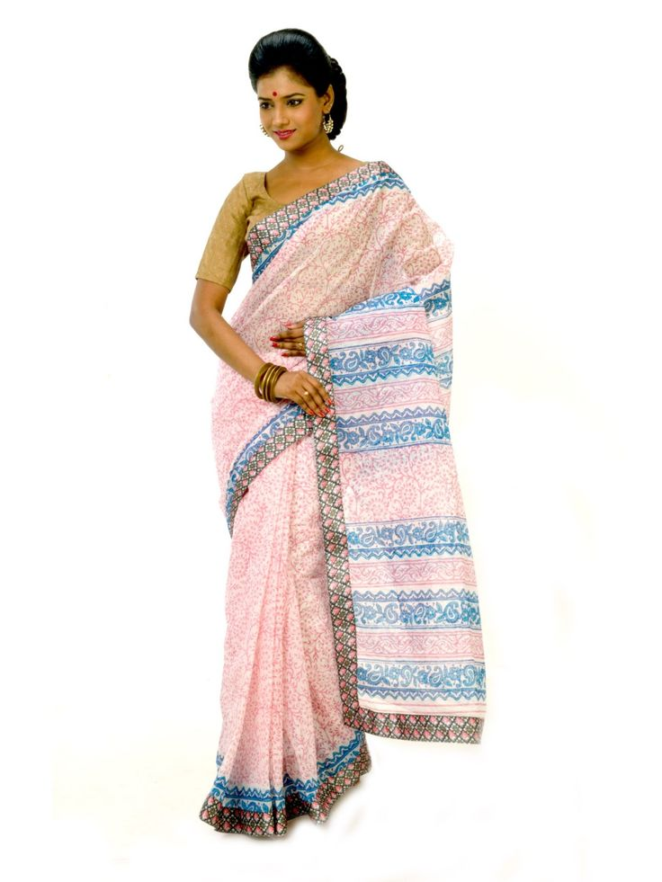 White & Blue Printed Cotton Saree - Online shopping to buy fashionable white & blue colors block printed cotton saree with matching blouse fabric in india. Wear dynamic and young style gorgeous designer saree to impress from Indian. Each saree has its own unique look.