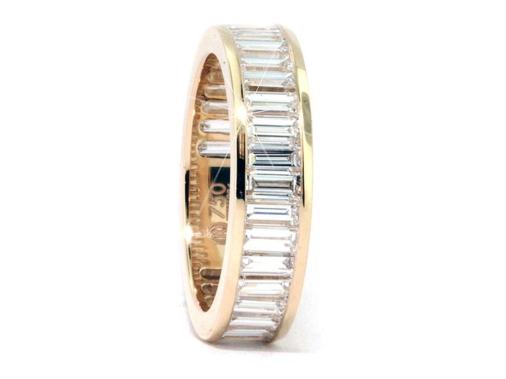"Baguette Cut Diamond Eternity Band the ""Marilyn""--a modern yellow gold representation of the wedding ring Joe DiMaggio gave to Marilyn Monroe at their courthouse wedding."