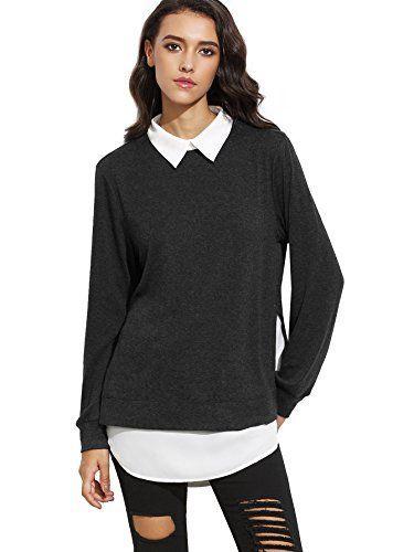 a7329723127e ROMWE Sweat-Shirt Pull et Gilet Femme Manches Longues 2 en 1