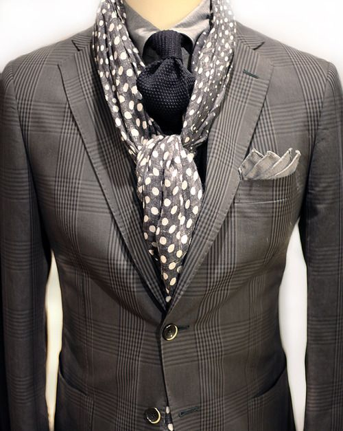 Great tie and scarf. Too much texture with the jacket
