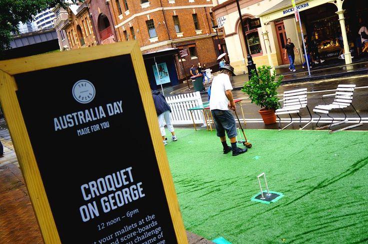 Australia Day, Sydney, The Rocks, George Street, Croquet