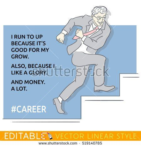 Businessman runs up stairs for success. Hash tag career. Meme card. Editable outline sketch. Stock vector illustration.