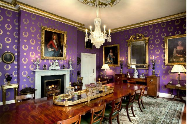 a rather marvelously purple dining room. Capard House, Rosenallis, Co Laois | Savills Ireland