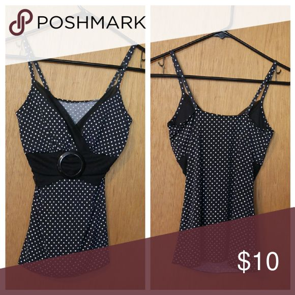 Polka Dot Print Strappy Top Polka dot print. No tags. Used.  Padded. Fit like an xxs - xs junior. Great condition. Tops Tank Tops