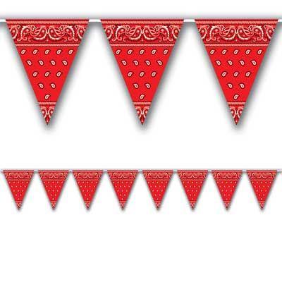 "Bandana Pennant Banner - 3.66m  Code: DBOBND  Bandana Pennant Banner - 25.4cm x 3.66m (10"" x 12') - All-Weather - 12 Pennants £2.25"