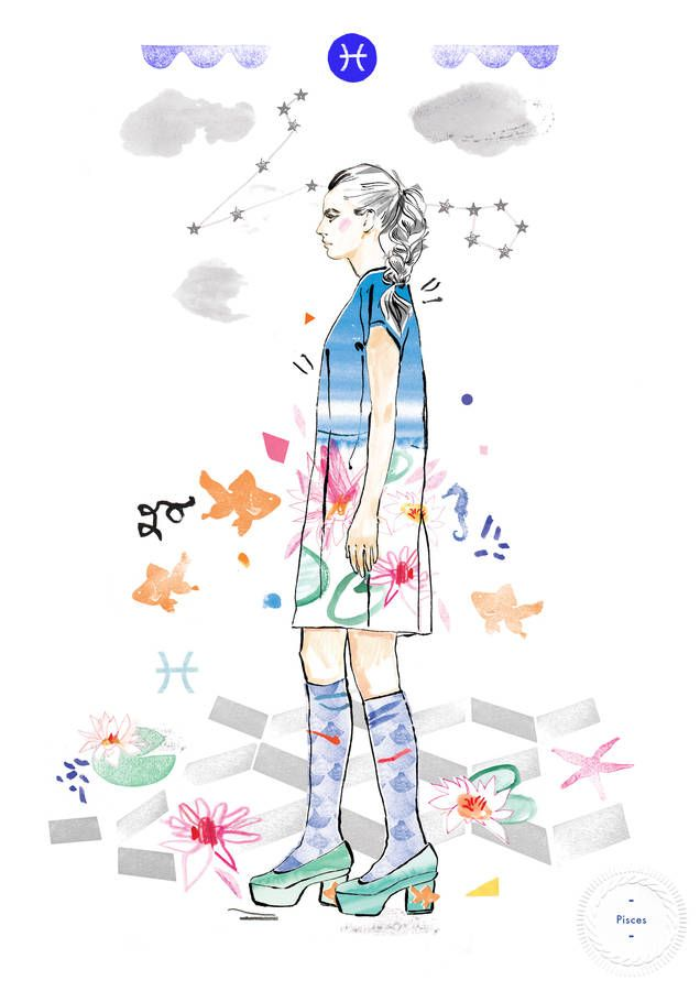 pisces birthday fashion illustration print by floss & co. | notonthehighstreet.com