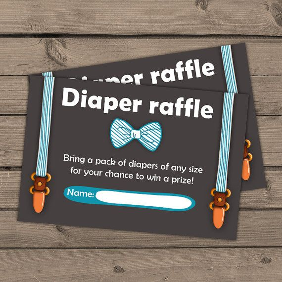 Baby shower Diaper raffle card Little man by Anietillustration