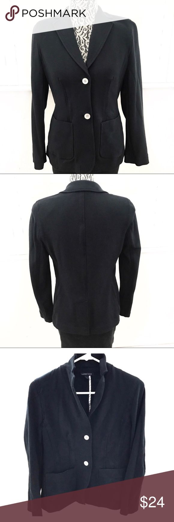 """Lands' End classic cotton blazer size 6 Classic blazer from Lands End. Great for work, weekend, or travel.  Well-loved and a bit faded in a few spots (see pics) but still extremely wearable.  👜Pit to pit 17"""" 👜Sleeve 22"""" 👜Shoulder 14"""" 👜Length 24.5""""  Tags: work , weekend , travel , classic , preppy chic , school girl Halloween costume , navy blazer Lands' End Jackets & Coats Blazers"""
