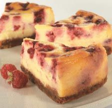 Use fresh or frozen raspberries to make this delicious baked cheesecake, dust with icing sugar before serving.