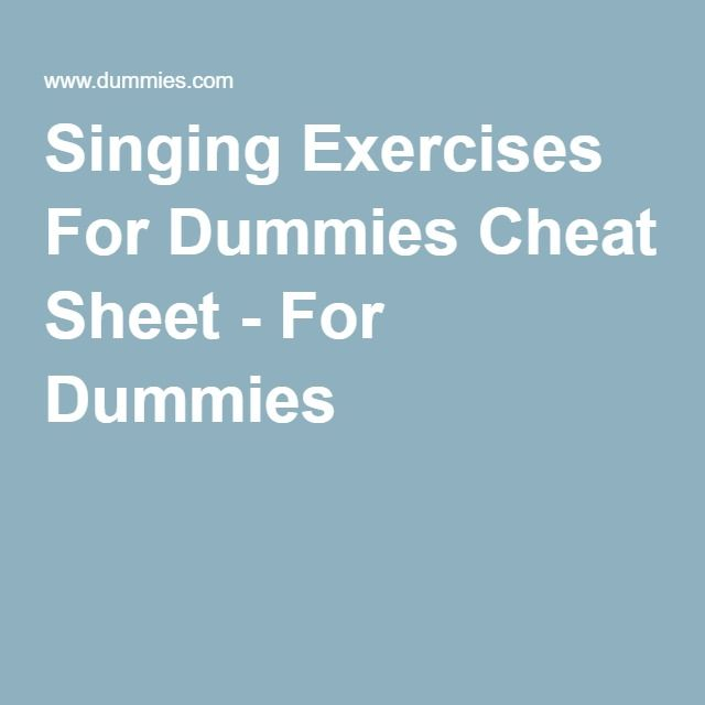 singing exercises for dummies pdf