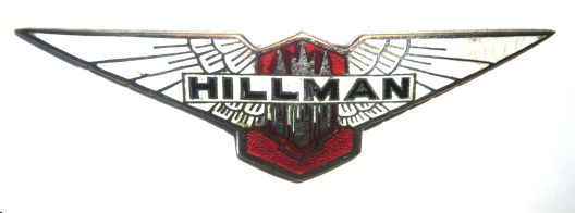Hillman Car Badge - 1932-39 Hillman Minx Mk I, Mk II and Aero Minx radiator Badge. Scarce in this condition. White, red and black enamel.  Marked Sale, B'ham.