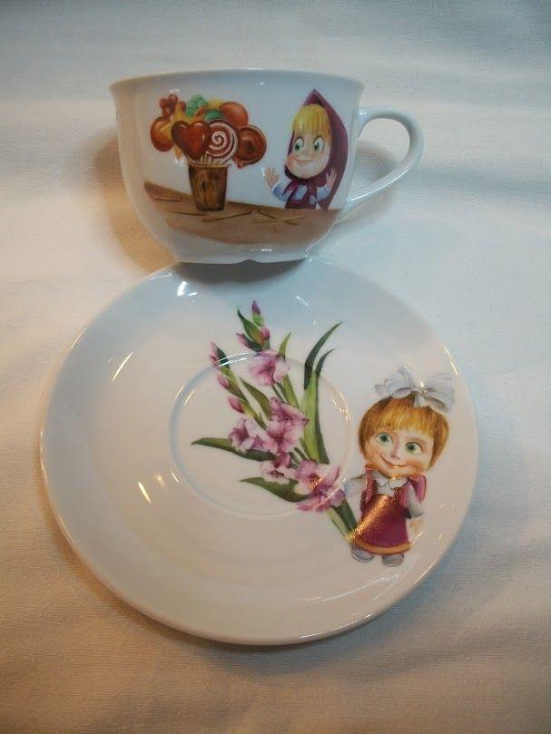 Masha e orso tazza colazione in porcellana dipinta a mano for Tazze da regalare a natale