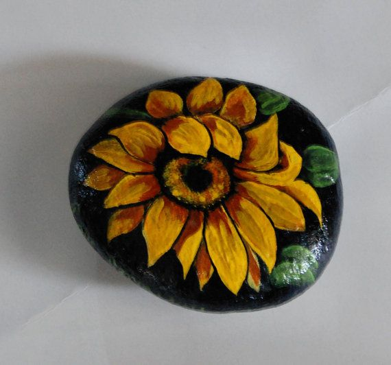 Painted Rock Sunflower By Fayesfinearts On Etsy Painted